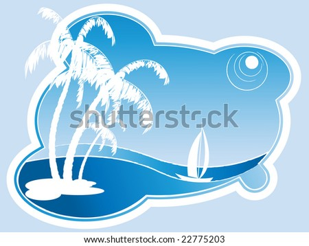 abstract vector scene with sailing boat and palm trees