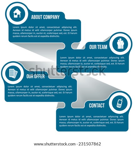 Abstract vector scheme for company information with icons and place for text - stock vector