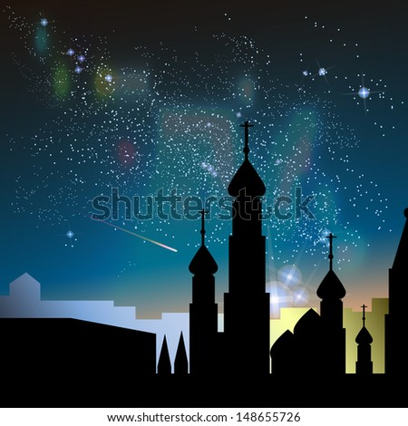 Abstract vector science image of the Milky Way with the Constellation over Moscow, Russia - stock vector