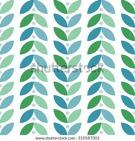 Abstract vector seamless pattern of fantasy leafs in fresh mint colors - stock vector