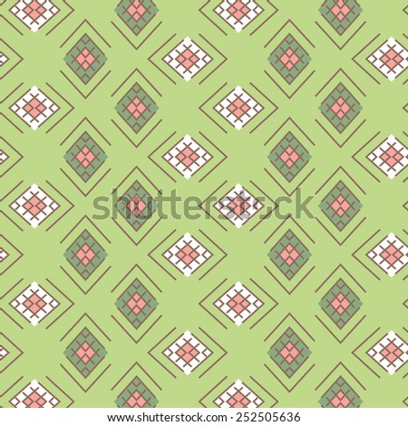Abstract vector seamless pattern with bright tribal ornament  - stock vector
