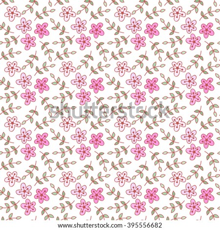 Abstract vector seamless pattern with flowers, leaves and swirls.