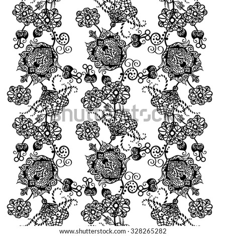 Abstract vector seamless pattern with lace - stock vector