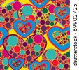 Abstract vector seamless texture with multicolor hearts - stock vector