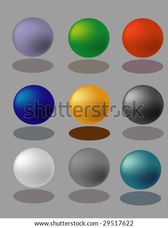 abstract vector set of color balls with shadows