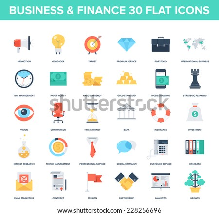 Abstract vector set of colorful flat business and finance icons. Creative concepts and design elements for mobile and web applications. - stock vector