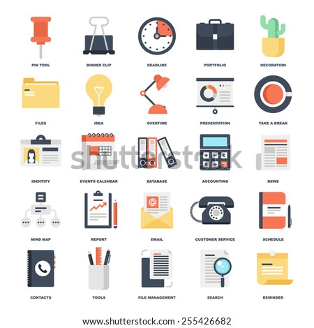Abstract vector set of colorful flat business and office icons. Concepts and design elements for mobile and web applications. - stock vector