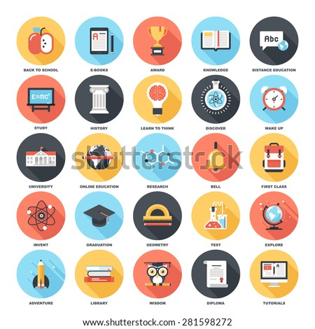 Abstract vector set of colorful flat education and knowledge icons with long shadow. Creative concepts and design elements for mobile and web applications. - stock vector