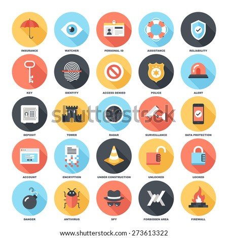 Abstract vector set of colorful flat security and protection icons with long shadow. Concepts and design elements for mobile and web applications. - stock vector