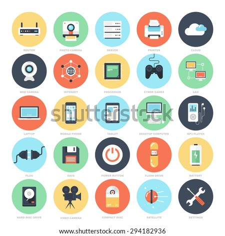 Abstract vector set of colorful flat technology and hardware icons. Creative concepts and design elements for mobile and web applications. - stock vector