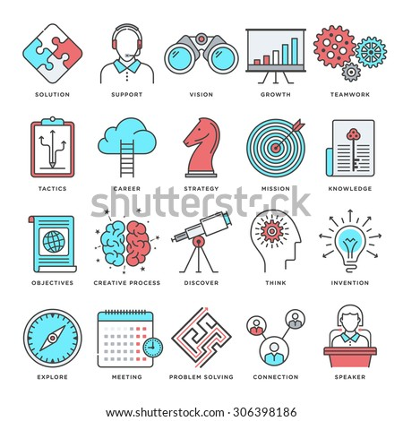 Abstract vector set of line color icons for brainstorming and productivity improvement Modern style illustrations and design elements for creative thinking process, learning and study activities. - stock vector