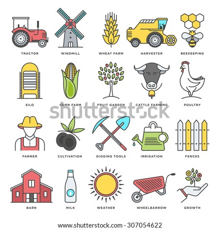 Abstract vector set of line color icons for farm life, farming and agriculture. Modern style illustrations and design elements for organic foods, farming harvesting and agriculture. - stock vector