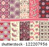 Abstract vector set of paper for scrapbook Valentine's Day - stock vector