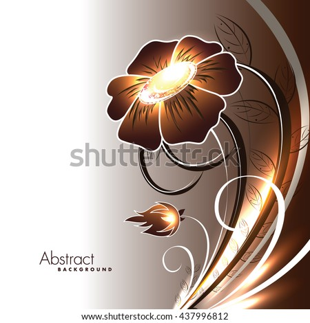 Abstract Vector Shiny Brown Flower.