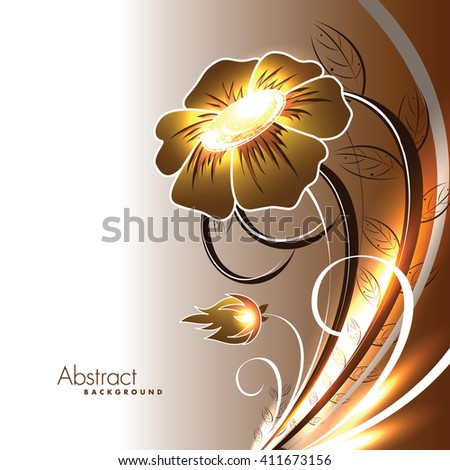Abstract Vector Shiny Flower. - stock vector