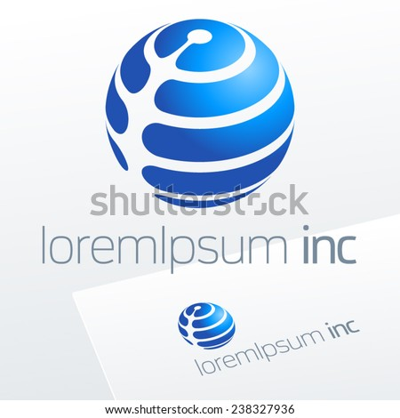 Abstract vector sign in sphere shape. Logo for Business, Media, Technology - stock vector