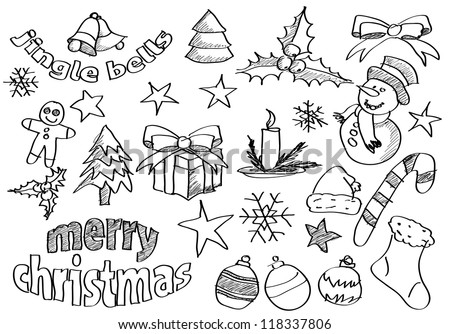 Abstract vector sketched christmas icons and symbols - stock vector