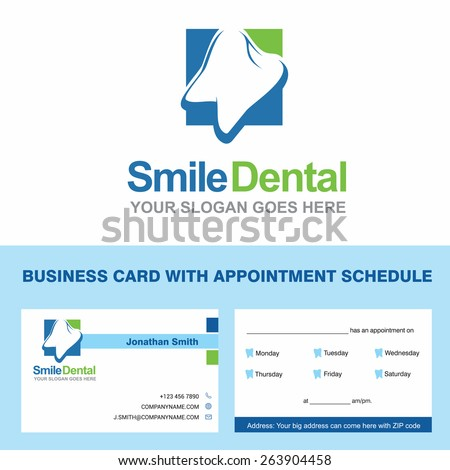 Abstract Vector Smile Dental Identity Concept Stock Vector - Business card appointment template