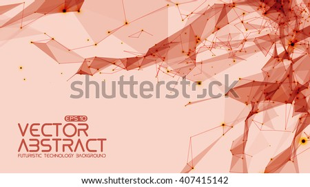 Abstract vector space light red background. Chaotically connected points and polygons flying in space. Flying debris. Futuristic technology style. Elegant background for business presentations.  - stock vector