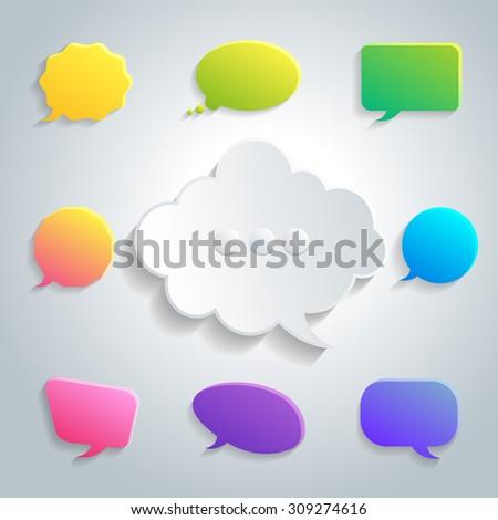 Abstract vector speech Bubbles Set. - stock vector