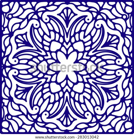 Abstract vector square lace design in blue color - background, decorative element - stock vector