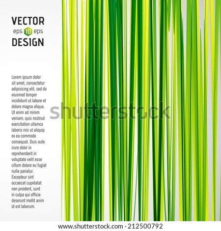 Abstract Vector Striped Background, Pattern of Green and Yellow Stripes with Banner - stock vector