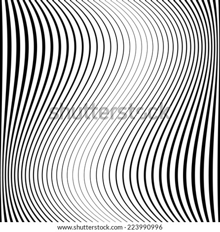 Abstract Vector Striped Seamless Pattern .  Black and White Stripes . Wave Stripes . Vertical Curved Lines .  - stock vector