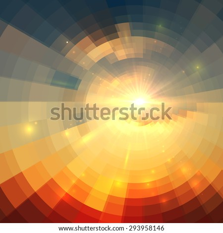 Abstract vector sunrise circle technology background - stock vector