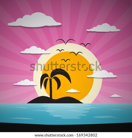 Abstract Vector Sunset Ocean Background with Palm, Island, Clouds and Birds - stock vector