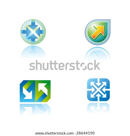 Abstract vector symbols (icons, signs, logos) with arrow - stock vector