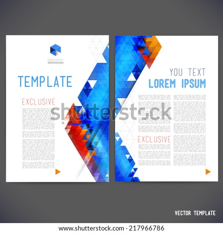Abstract vector template design, brochure, Web sites, page, leaflet, with colorful geometric triangular backgrounds, logo and text separately. - stock vector