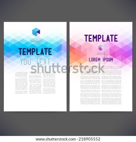 Abstract vector template design, brochure, Web sites, page, leaflet, with colorful geometric triangular backgrounds, logo and text separately for you. - stock vector