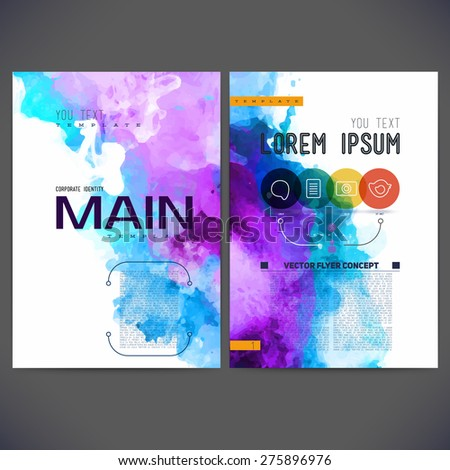 Abstract vector template design, brochure, Web sites, page, leaflet, with colorful watercolor backgrounds, logo and text separately. - stock vector