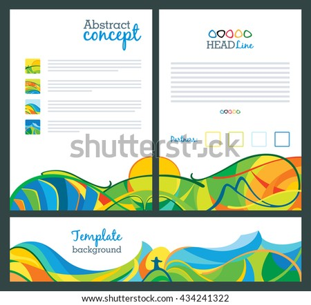 Abstract vector template design, brochure, websites, page, leaflet, with colored lines and waves, A4 size. Travel concept banners, views on Rio 2016 - stock vector