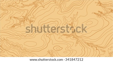 Abstract vector topographic map with lines in brown colors - stock vector
