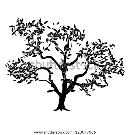 Abstract vector tree silhouette - stock vector
