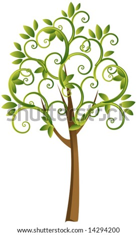 Abstract vector tree with leaves - stock vector