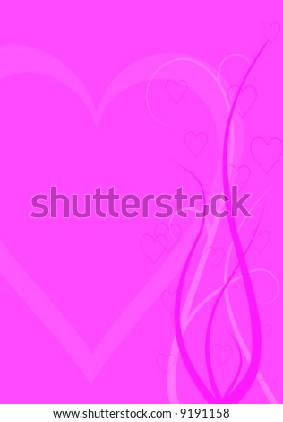 abstract vector valentine background formed by hearts and swirl lines - stock vector