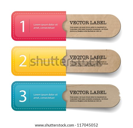 Abstract vector vintage old paper tags with colorful pockets - one two three steps - stock vector
