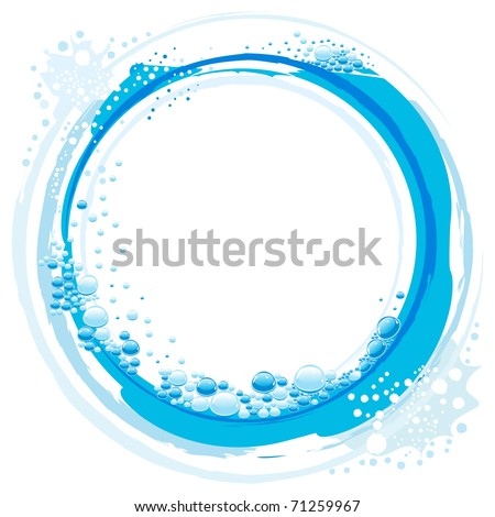 abstract vector water wave with small bubbles - stock vector