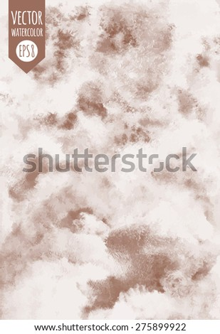 Abstract vector watercolor background. Cloudy or whipped cream with chocolate, coffee texture. Shades of white and brown. Painted backdrop. Sweet, confectionery backdrop. - stock vector