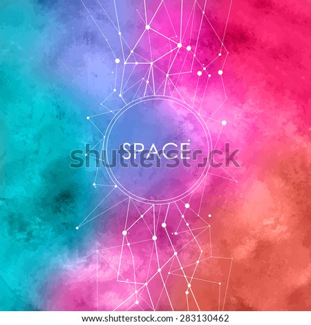 Abstract Vector Watercolor Illustration with connecting dots,space background with constellation - stock vector
