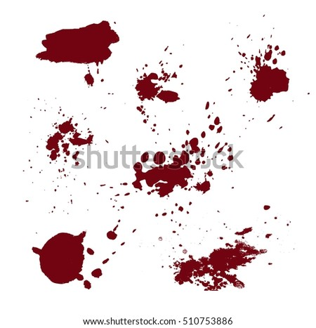 Abstract vector watercolor textured hand painted background ink brush set.