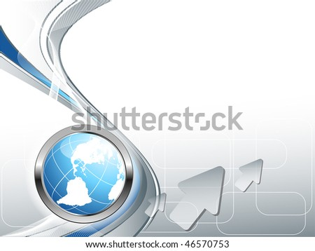 abstract vector wavy lines with globe button. Eps10