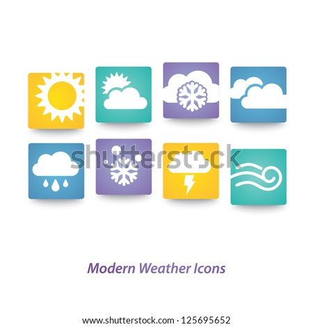 Abstract vector weather multicolored icons - stock vector