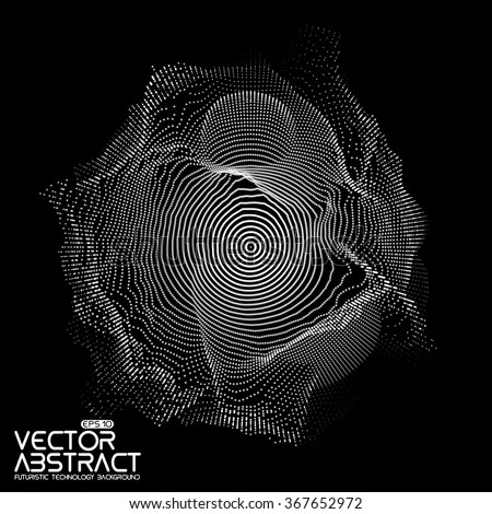 Abstract vector white mesh on dark background. Futuristic style card. Elegant background for business presentations.  Corrupted point sphere.  Chaos aesthetics. - stock vector