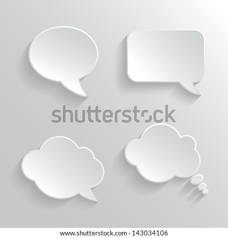 Abstract Vector White Speech Bubbles Set - stock vector