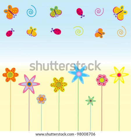 Abstract vector with summer symbols and flowers on blue and yellow background for different uses - stock vector