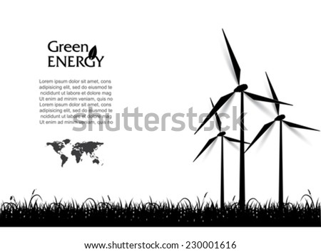 Abstract vector with wind turbines, green energy concept. - stock vector