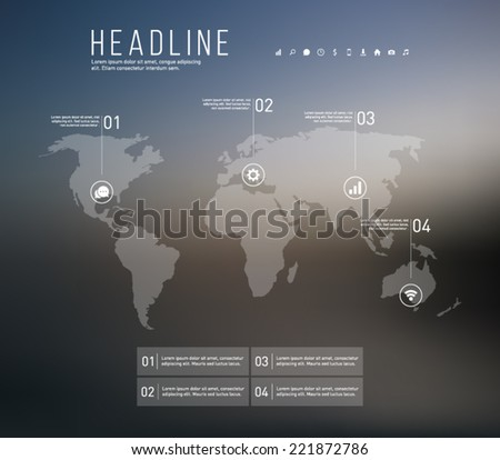 Abstract vector world map infographic template with blurred background and icons, for business, workflow layout, progress, number options, step presentation and web. Clean and modern, minimal design - stock vector